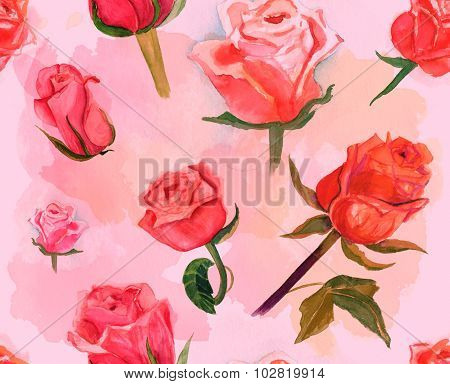 Seamless watercolor roses pattern, toned