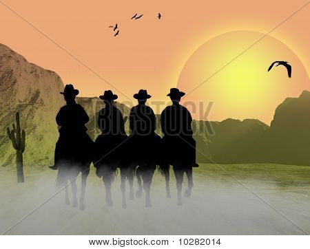 Cowboys Silhouette Background