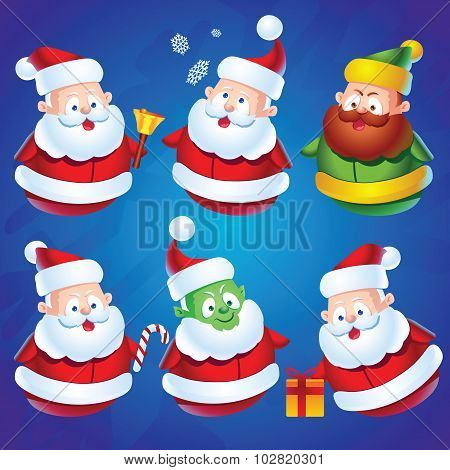 Cute Cartoon Santa Claus Set For Christmas