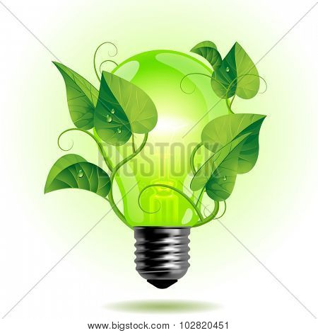 Ecology light bulb with leaves.  Green energy concept. Vector illustration
