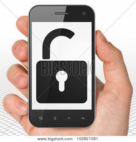 Privacy concept: Hand Holding Smartphone with Opened Padlock on display