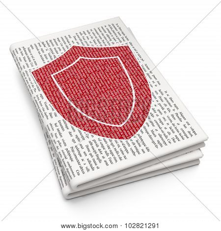 Security concept: Shield on Newspaper background