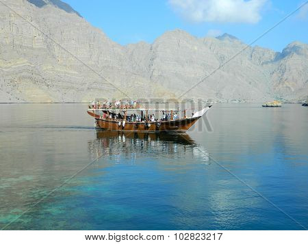 Pleasure boat with tourists in the Red Sea