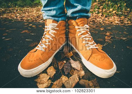 Feet sneakers walking on fall leaves Outdoor
