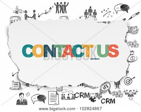 Business concept: Contact us on Torn Paper background