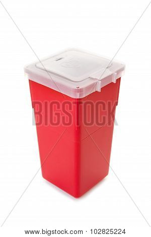 Sharps collector container isolated on white
