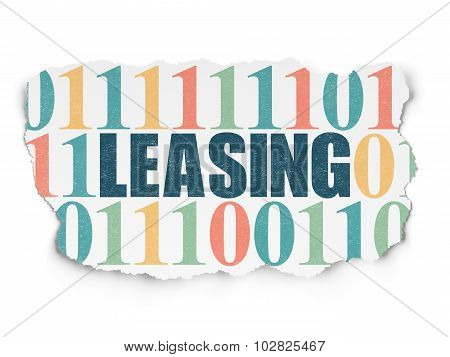 Finance concept: Leasing on Torn Paper background