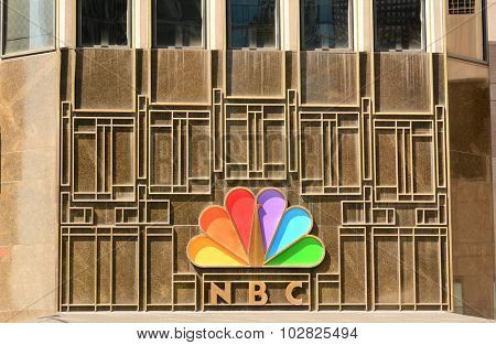CHICAGO, ILLINOIS - AUGUST 22, 2015: NBC Tower. The NBC logo on the NBC Tower building seen form Columbus Drive.