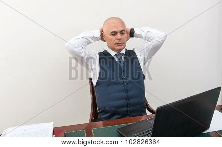 An Agonising Business Man, In Crisis, In Front Of His Pc.