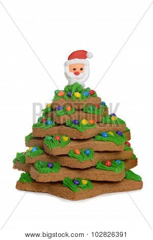 gingerbread christmas tree with santa face