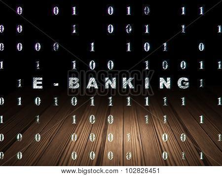 Business concept: E-Banking in grunge dark room