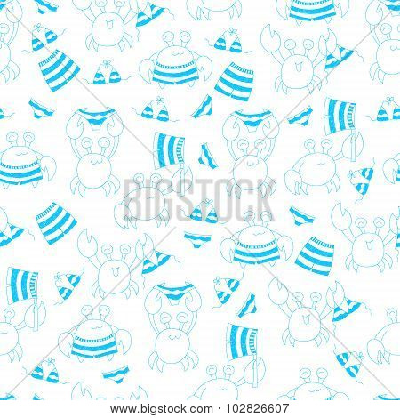 Seamless Pattern With Cartoon Crabs