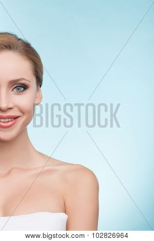 Attractive healthy woman is caring of her body