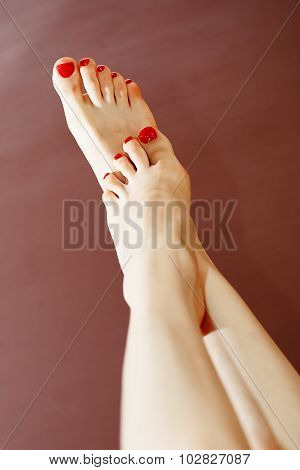 Foot With Red Nail