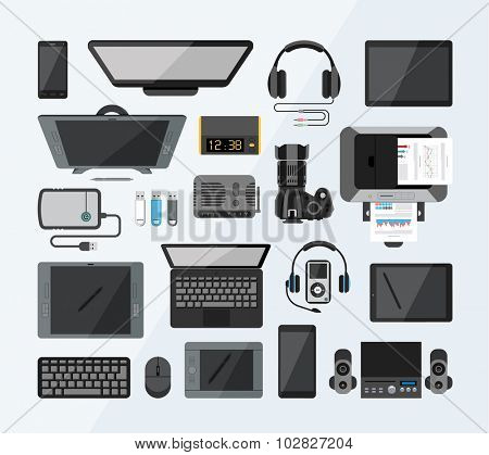 Office equipment flat icons.Set of high tech devices. Collection of modern technology icons from the bird`s eye view.