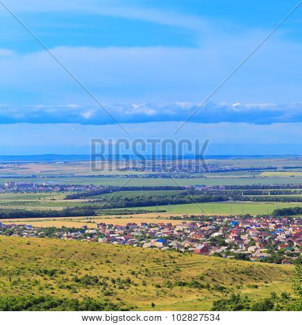 Small town at steppe