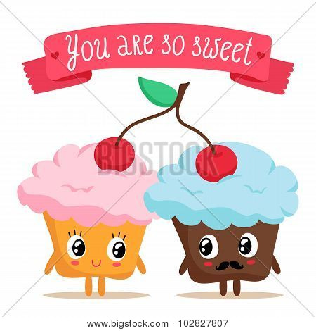 Cute Pair Of Cupcakes Sharing A Cherry
