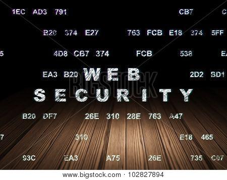 Web development concept: Web Security in grunge dark room