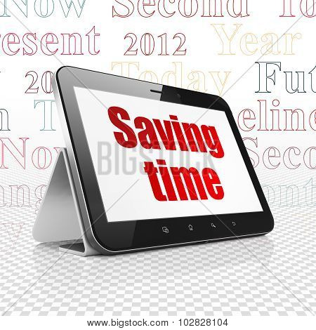 Timeline concept: Tablet Computer with Saving Time on display
