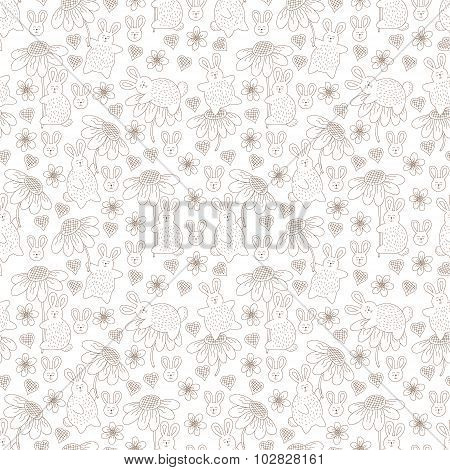 Pattern With Rabbits And Flowers