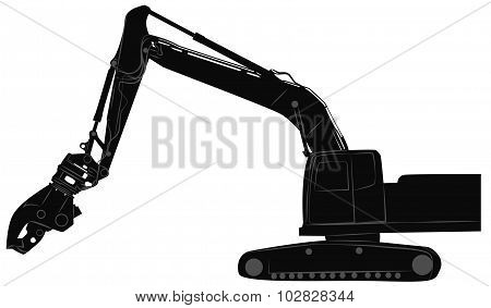 Excavator With Hydraulic Crusher
