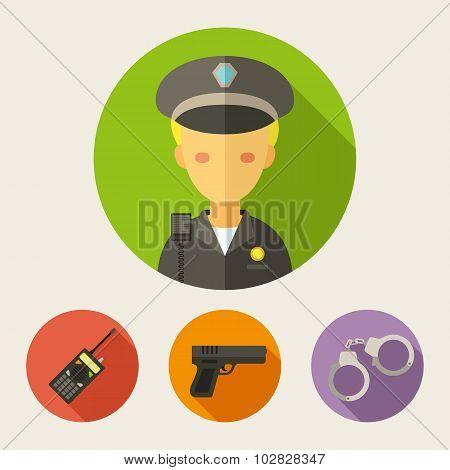 Set Of Flat Style Icons. Policeman, Radio Set, Gun, Handcuffs
