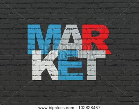 Advertising concept: Market on wall background