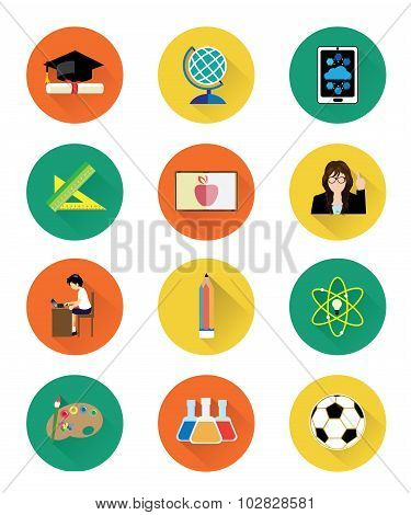 Modern flat education icons set with long shadow effect