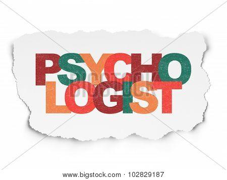 Health concept: Psychologist on Torn Paper background