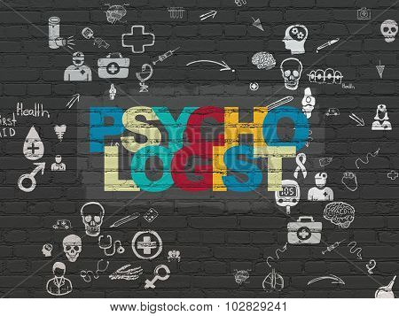 Healthcare concept: Psychologist on wall background