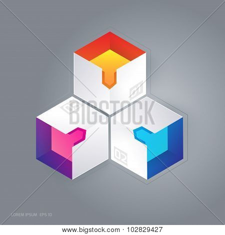 Abstract 3D Cubic Infographic Vector Illustration