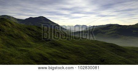 a few long rolling green valleys