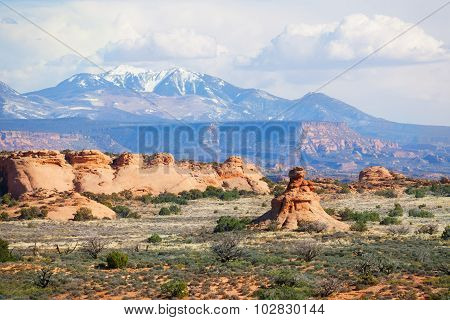 Mt Waas and Arches park plateau view in USA