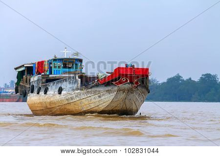 A Cargo Boat, The River, The Mekong