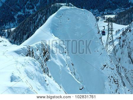 Ski Lift Between In Winter Mountain (austria).