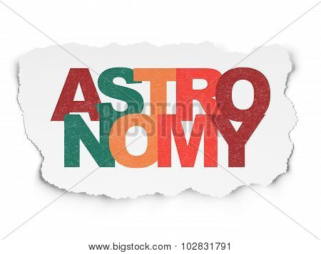Science concept: Astronomy on Torn Paper background