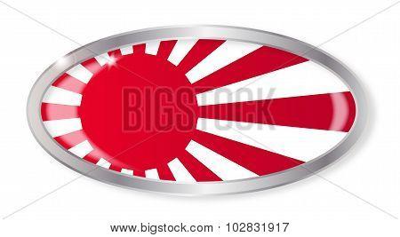Japanese Flag  Oval Button