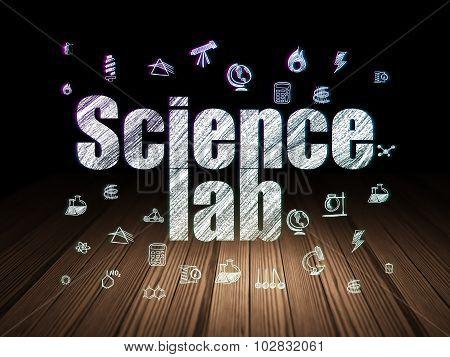 Science concept: Science Lab in grunge dark room