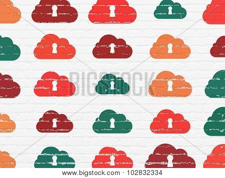 Cloud computing concept: Cloud With Keyhole icons on wall background