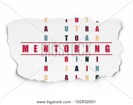 Education concept: Mentoring in Crossword Puzzle