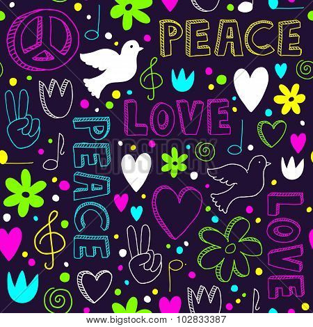 Neon Hand-drawn Seamless Pattern With Symbols Of Peace