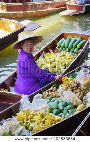Thai Women Selling Fruits On Floating Market