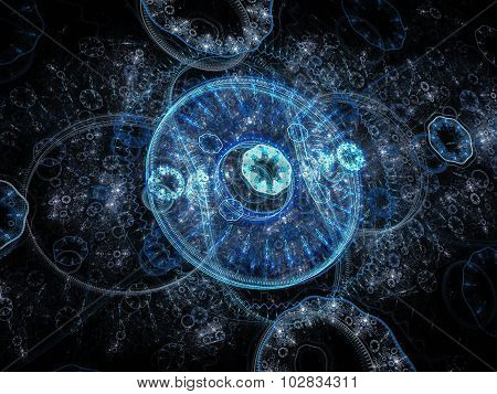 Abstract computer-generated image with blue rings