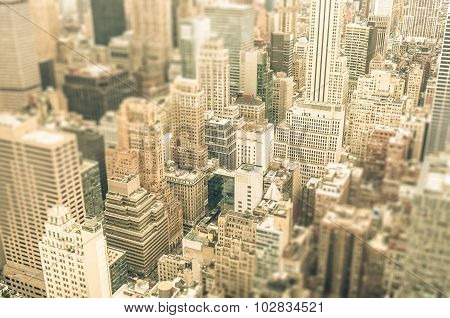 Skyscrapers In The Business District Of New York City -  Aerial View Of Modern Skyline Buildings