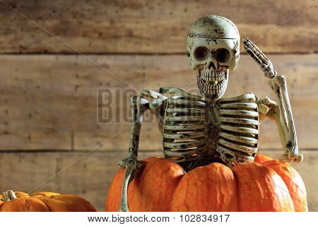 Skeleton Is Saluting On Pumpkin And Blur Background.