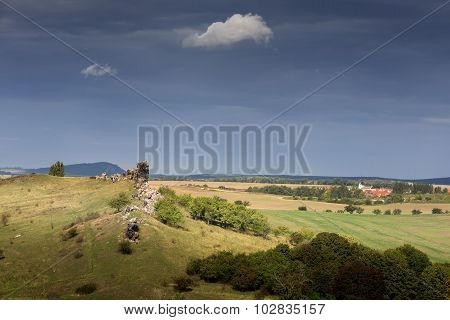Part of the devil's wall near the town of Weddersleben, Germany
