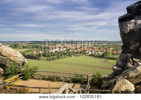 View to the town of Weddersleben from the devil's wall, Germany