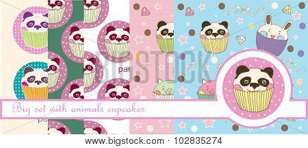 Big vector set with panda and animals cupcakes for food and scrapbooking design