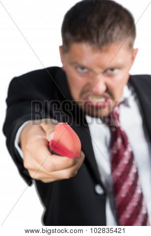 Businessman attacking with a knife