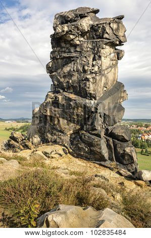 Rock formation at the devil's wall near the town of Weddersleben, Germany